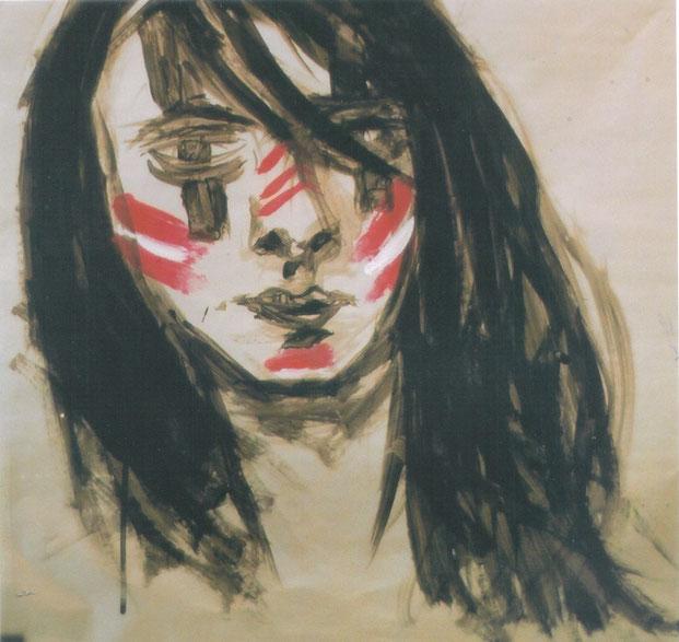 Autoportrait guerrier / 2002 / Acrylique su papier / 50x50 cm / Peinture recouverte