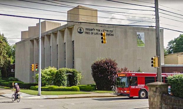 """Ort des Geschehens: Synagoge """"Tree of Life"""" in Pittsburgh. Am Schabbat fand hier das Massaker statt."""