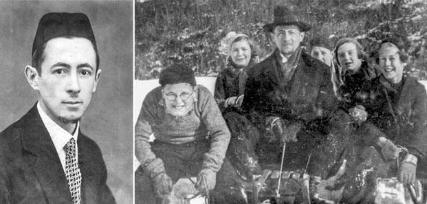 1. Portrait des Rabbiners Dr. Bohrer.2. Rabbiner Dr. Markus (Mordechai) Bohrer beim Schlittenfahren mit jüdischen Kindern.Fotos: Jüdisches Museum Gailingen