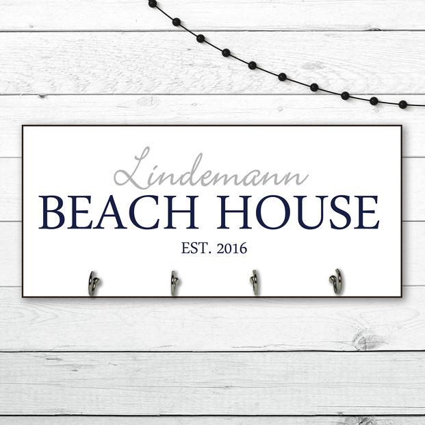Beach House Schlüsselbrett personalisierbar