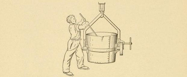 Einbringen von Thermit in die Gusspfanne