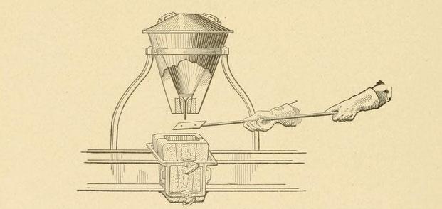Abstechen des Tiegels über der für das Thermitschweißen von Eisenbahnschienen angebrachten Gussform.
