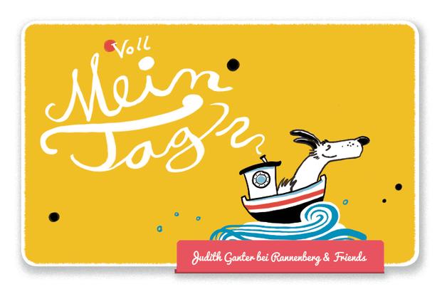 Mitbringsel Frühstück, Frühstücksbrettchen - Hund im Boot - Voll mein Tag! - Lebensfreude pur! - Judith Ganter Illustration und Spruch - bei Rannenberg & Friends