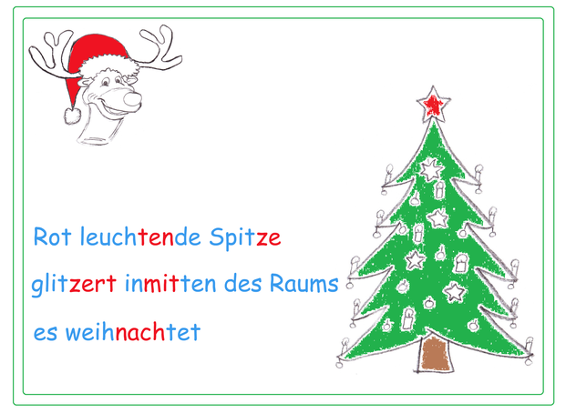 Haiku Grundschule, farbige Silbenschrift, Weihnachtswörter, Begriffe Weihnachten