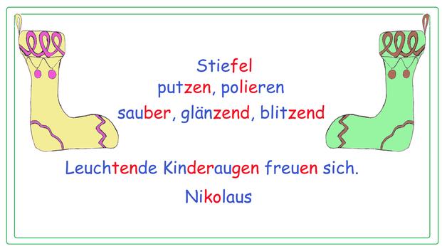 Nikolaus Elfchen, Elfchen Nikolaus, Elfchen Idee, Elfchen Vorlage, Kopiervorlage Elfchen, Weihnachtswörter