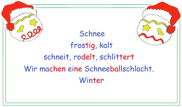 Advent Elfchen, Adventselfchen, Elfchen Advent, Gedichtform Elfchen, Kopiervorlage Elfchen, Elfchen in farblicher Silbenschrift