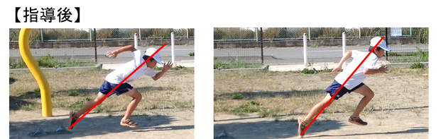 背筋が伸びて膝を伸ばしてスタートブロックを押せるようになり2歩目もスムーズに前に足が出やすく