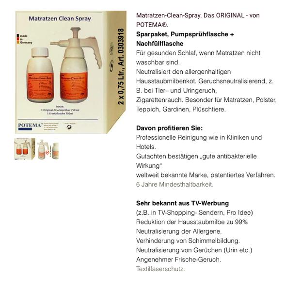 Matratzen: Bild Matratzen-Clean-Spray für OnlineShop