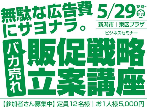 【2020年5月29日㊎】バカ売れ販促戦略セミナー(新潟市東区プラザ)