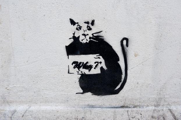 バンクシーかどうか描いたかわからないネズミの絵。