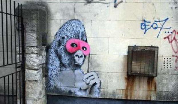 ※1:バンクシー《ピンク色の仮面をつけたゴリラ》