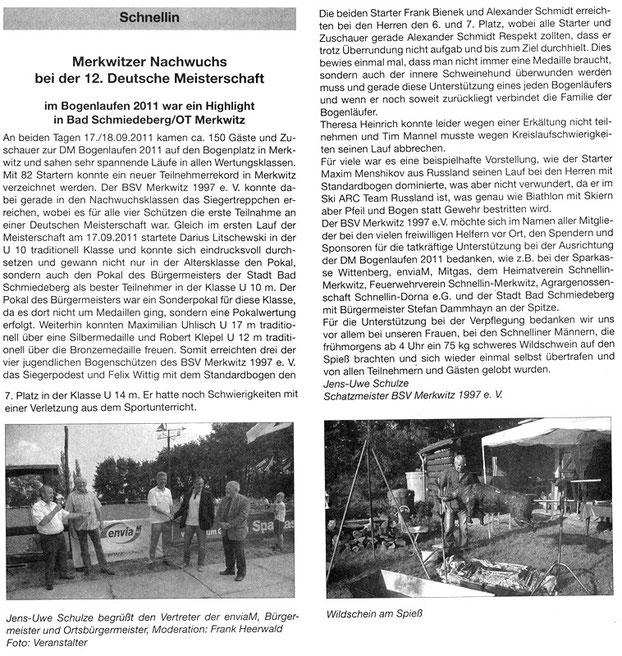Artikel über 12. DM im Bogenlauf in Merkwitz 2011