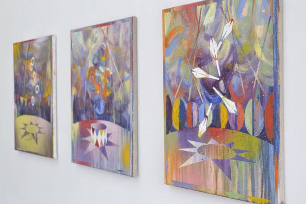 """Matthias Moravek, """"Manège"""", """"Artiste"""", """"Jonglage"""", je 50 x 40 cm, 2019"""