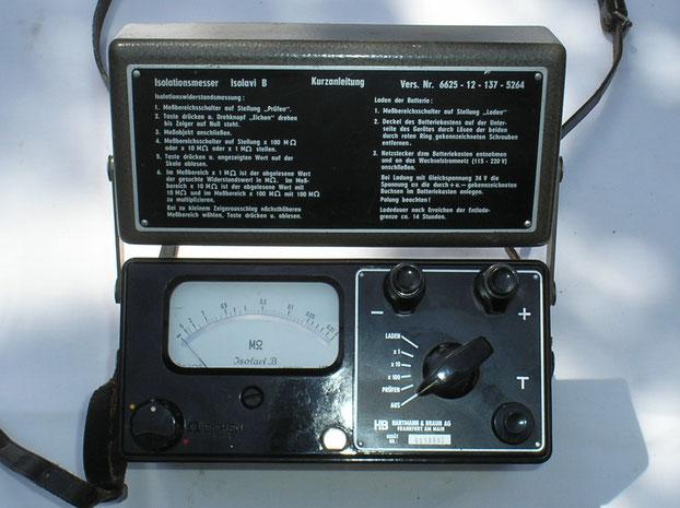 Hartmann & Braun Isolations Messgerät Typ. Isolavi B mit Akku und Ladenetzteil