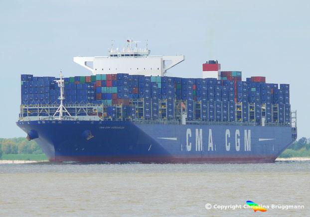 CMA CGM KERGUELEN, Typenschiff der größten Klasse der CMA CGM wird durch die 22.000 TEU Neubauten als Flaggschiffe abgelöst