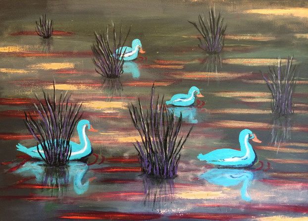 """Happy Ducks"" 76cm x 51cm Acrylic on canvas $200 (excluding freight)"
