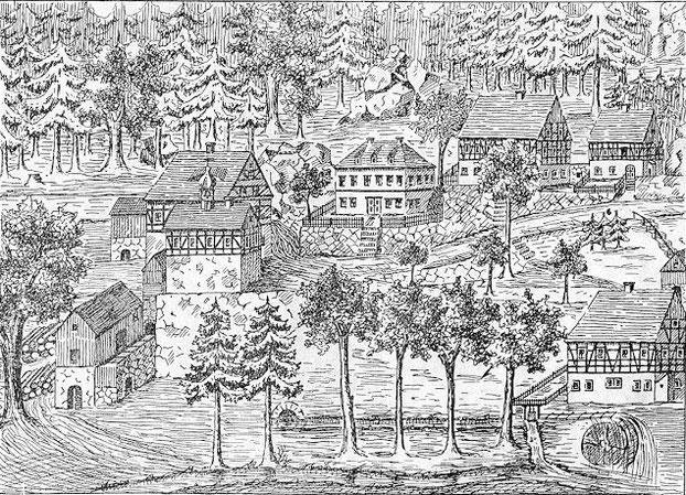 Bild: Wünschendorf Hammermühle um 1700