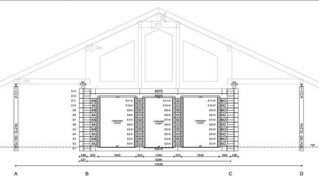 Einfamilienhaus - Detailzeichnung - CAD-Zeichnungen - Werkplanung für das Wohnblockhaus in Mecklenburg-Vorpommern - Wandaufbau mit Blockbohle 275x220 mm - Massivholzbau - Hausplanung - Planungsbüro - Detailplanung - Hausplanung -  Technische Zeichnung