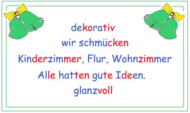 Elfchen Weihnachten, weihnachtliche Elfchen, farbliche Silbenschrift, Begriffe Weihnachten