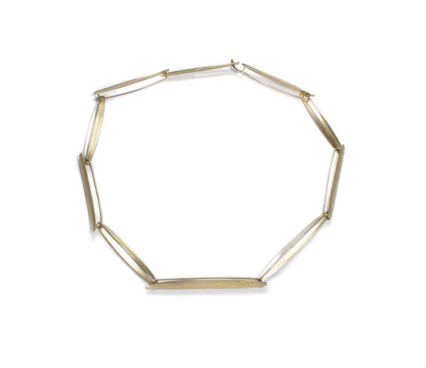 """""""A 50"""" Collier - 750-er Gelbgold und Palladium in Mokume Gane Technik"""