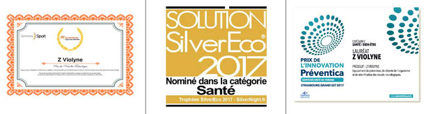 """Z Violine a reçu plusieurs distinctions depuis 2015, dont le Prix """"Communica Sports"""",  """"Sylver Economie"""", accompagnement des séniors,  catégorie  """"santé""""; et """"Préventica"""", santé, sécurité au travail."""