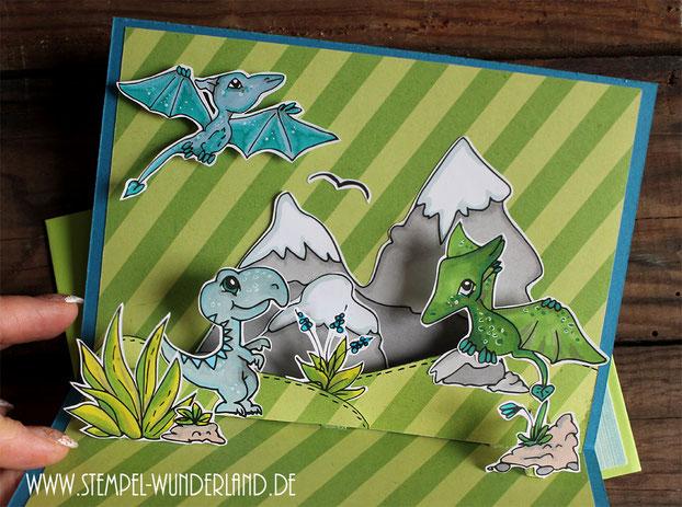 Stempel Digi Stamps Dinosaurier für Jungen Geburstags Karte handgemacht Flugsaurier Tyrannosaurus Rex Idee Pop Up Karte von www.stempel-wunderland.de