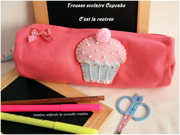 Trousse scolaire en coton rose décor cupcake en feutrine fait main