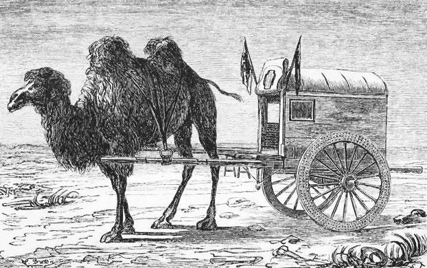 Ma voiture en Mongolie. Victor Meignan (1846-) : De Paris à Pékin par terre. Plon, Paris, 1877.