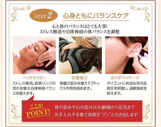 痩せる耳ツボ 骨盤矯正 ヘッドセラピーの施術