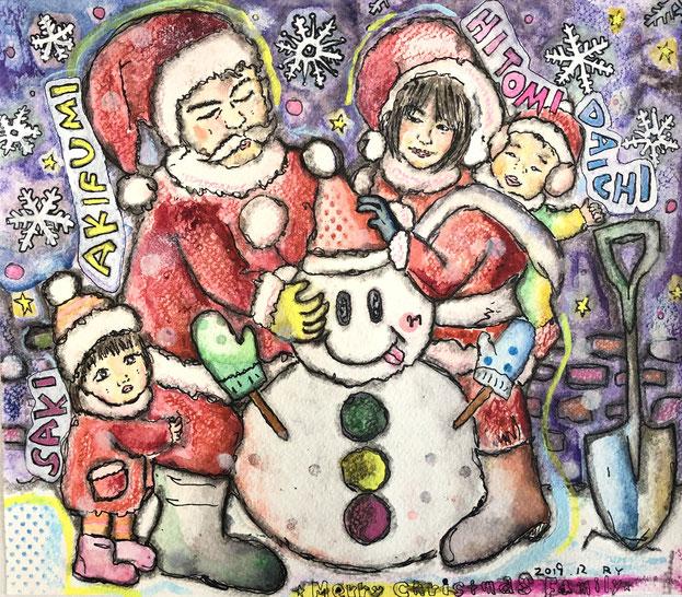似顔絵:家族みんなで雪だるま