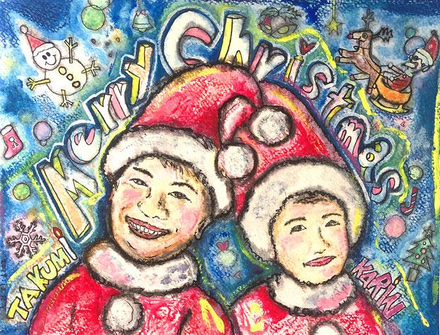 似顔絵:メリークリスマス&ハッピーウェディング