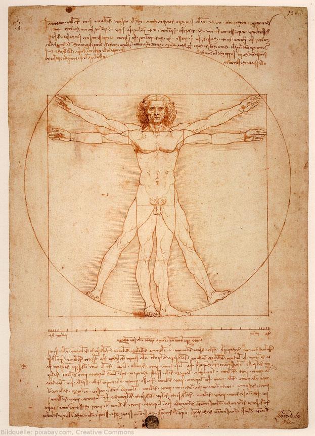 Der vitruvianische Mensch, gezeichnet von Leonardo da Vinci.