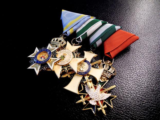 Sachsen Ordensspange Ordensschnalle Dreiecksbänder Militär-St.-Heinrichs-Orden Ritterkreuz Zivilverdienstorden Albrechtsorden Hausorden vom Weißen Falken Replik