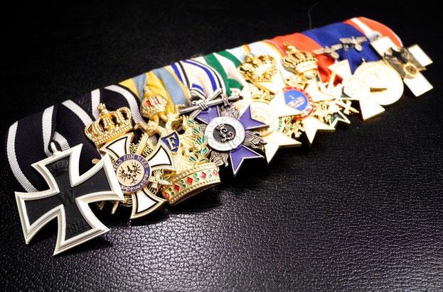 Kriegsmarine Wehrmacht Große Ordensspange Admiral General Eisernes Kreuz II. Klasse Hausorden Hohenzollern Orden der Eisernen Krone Militärverdienstorden Zivilverdienstorden Orden vom Weißen Falken Wehrmacht-Dienstauszeichnung Replik