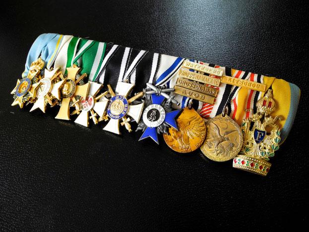 Sachsen Große Ordensspange Militär-St.-Heinrichs-Orden Zivilverdienstorden Albrechtsordxen Roter Adlerorden Kronen-Orden Militärverdienstorden Südwestafrika-Denkmünze China-Denkmünze Orden der Eisernen Krone Replik