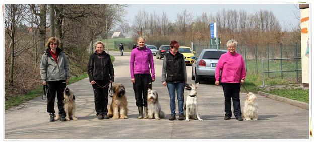 Svea mit Ayla, Bärbl mit Asti, Ich mit Micki, Karin mit Ebby und Ute mit Jette