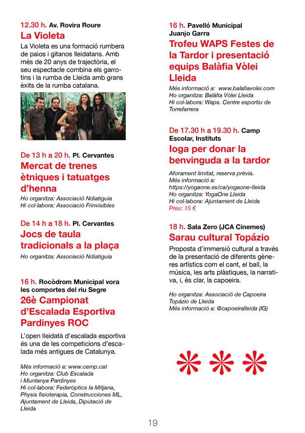 Programa de las Festes de la Tardor en Lleida