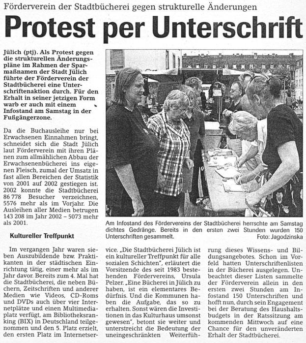 Jülicher Nachrichten vom 28.07.2003