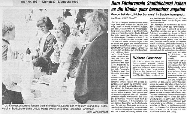 Jülicher Nachrichten vom 18.08.1992