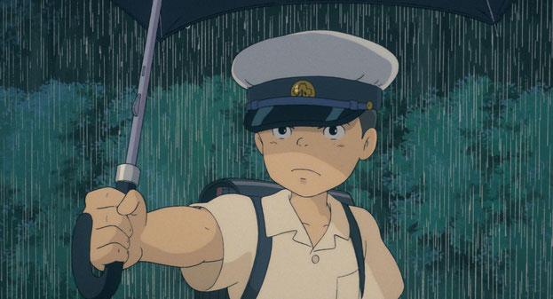 カンタがサツキに傘を貸してくれるシーン