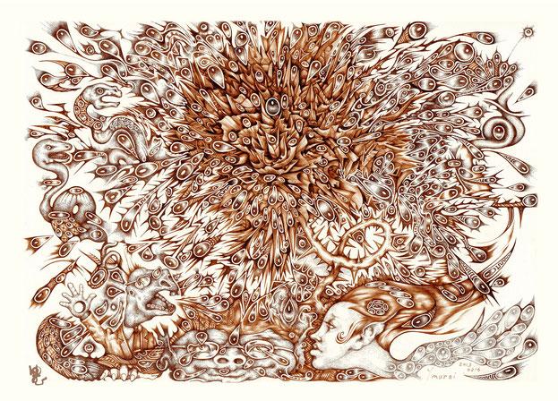 Monkey Face   / digital print on metallic paper   size / A4 ~ A3