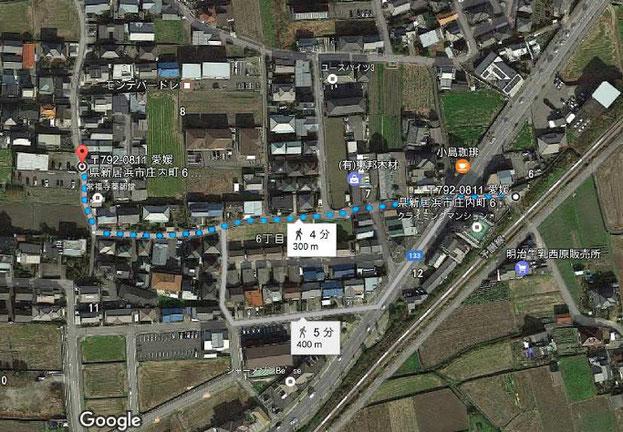 敷地外駐車場までのアクセスです。物件から300m(徒歩4分)