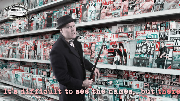 Photo of ZakWashington in a typical English newsagents with a magazine rack