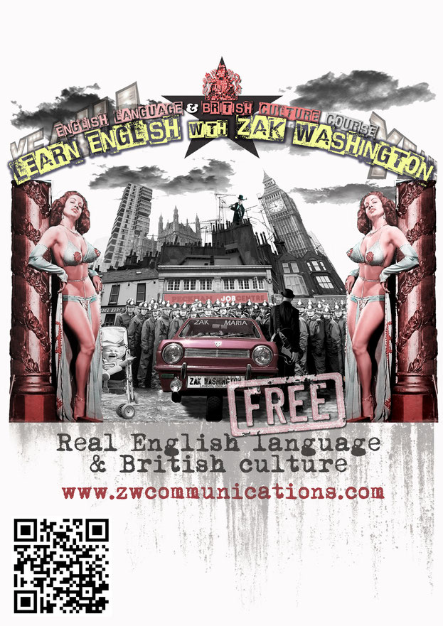 Poster of Learn English with ZakWashington with London graphics