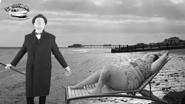 English teacher ZakWashington on the beach with an obese woman