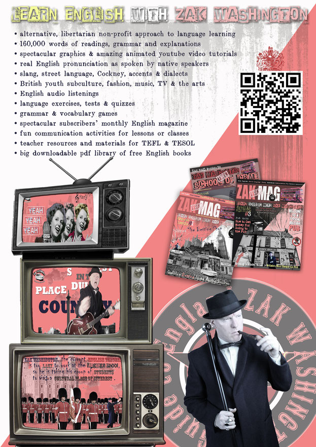 Poster of Learn English with ZakWashington with vintage tv graphics
