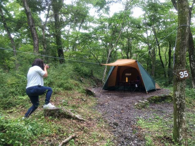 キャンプ場が取材されている写真