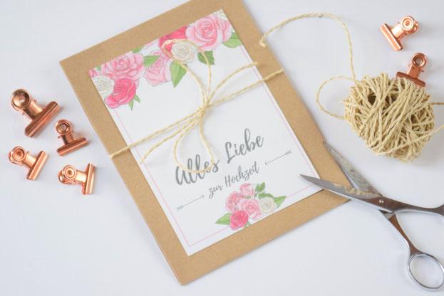 Glückwunschkarte zur Hochzeit selbst machen - Bastelanleitung und DIY zur Hochzeit.
