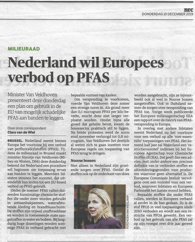 Artikel NRC Handelsblad 19 december 2019, Foto Koen van Weel/ANP