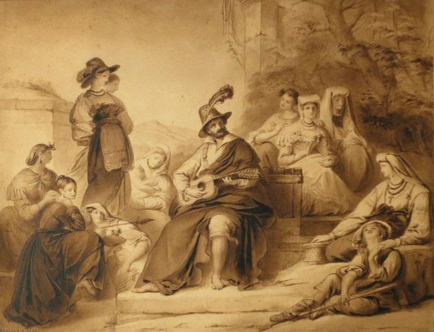 Peinture Le joueur de Flute réalisée par Jean Francois Navez en 1841
